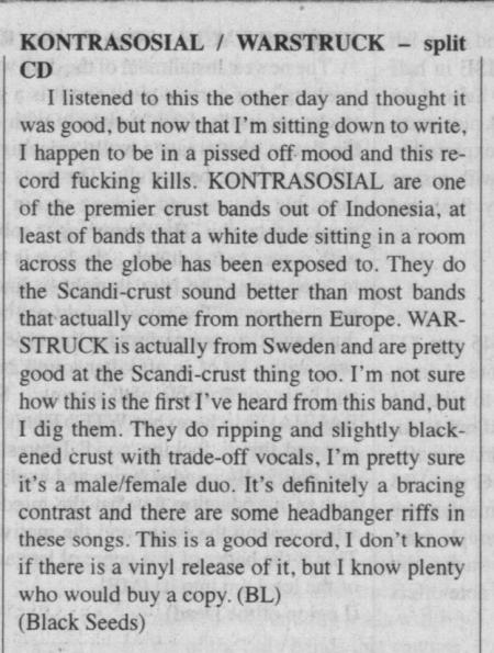 KONTRASOSIAL / WARSTRUCK - split CD review on Maximum Rock N Roll #353